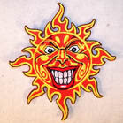 HAPPY SUN 4 INCH PATCH ( Sold by the piece or dozen ) *- CLOSEOUT AS LOW AS 75 CENTS EA