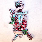 SWORD AND ROSE 4 INCH PATCH ( Sold by the piece or dozen ) *- CLOSEOUT AS LOW AS 75 CENTS EA