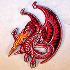 FIRE DRAGON 4 INCH  PATCH ( Sold by the piece or dozen ) *- CLOSEOUT AS LOW AS $1 EA