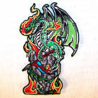 GREEN DRAGON 4 INCH PATCH ( Sold by the piece or dozen ) *- CLOSEOUT AS LOW AS 75 CENTS EA