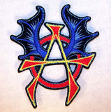 ANARCHY WITH WINGS 4 INCH PATCH (Sold by the piece or dozen ) -* CLOSEOUT AS LOW AS 75 CENTS EA