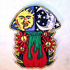 EARTH FLAMING SHROOM 4 INCH PATCH  (Sold by the piece or dozen) - * CLOSEOUT NOW AS LOW AS $1 EA