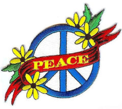 PEACE FLOWER BANNER 4 INCH PATCH  (Sold by the piece or dozen) - * CLOSEOUT NOW AS LOW AS 75 CENTS EA