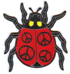 LADY BUG PEACE SIGN 4 INCH PATCH  (Sold by the piece or dozen) - * CLOSEOUT NOW AS LOW AS 75 CENTS EA