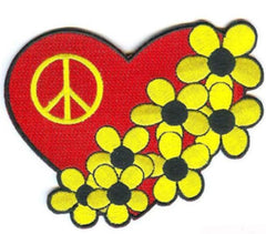 PEACE HEARTS FLOWERS 4 INCH PATCH (Sold by the piece or dozen ) -* CLOSEOUT AS LOW AS 75 CENTS EA