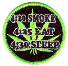 SMOKE EAT SLEEP 3 inch PATCH (Sold by the piece or dozen ) -* CLOSEOUT AS LOW AS 75 CENTS EA