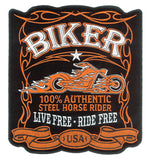 100 PERCENT BIKER EBRODIERED PATCH  (Sold by the piece)