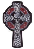 CELTIC SKULL CROSS 5 INCH PATCH (Sold by the piece)