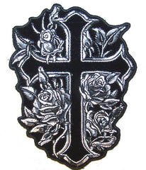 CROSS WITH FLOWERS EMBROIDERIED PATCH 5 IN (Sold by the piece)