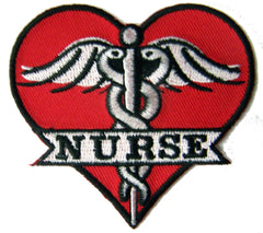 MEDICAL NURSE HEART EMBROIDERED PATCH (Sold by the piece)