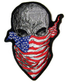 AMERICAN BANDANA SKULL EMBROIDERED PATCH 4 INCH (Sold by the piece)