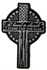 KNEEL IN CHURCH CROSS EMBROIDERED PATCH 5 INCH (Sold by the piece)