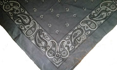 DARK GREY PAISLEY BANDANA (Sold by the piece or dozen) - CLOSEOUT NOW 75 CENTS EA