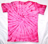 PETITE PINK SPIDER TIE DYED TEE SHIRT (sold by the PIECE OR dozen) * CLOSEOUT NOW ONLY $ 2.50 EA