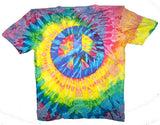 PETITE ADULT SIZE PEACE SIGN SWIRL TIE DYED TEE SHIRT (sold by the dozen)