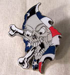 RIPPING AMERICAN SKULL HAT / JACKET PIN  (Sold by the dozen)