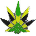REGGAE POT LEAF HAT / JACKET PIN (Sold by the dozen)