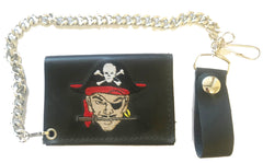 PIRATE SKULL & CROSS BONES TRIFOLD LEATHER WALLET WITH CHAIN (Sold by the piece)