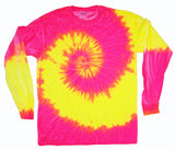 PINK / YELLOW SWIRL LONG SLEEVE TYE DYE TEE SHIRT ( sold by the piece ) LARGE ONLY