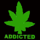 ADDICTED POT LEAF BLACK SHORT SLEEVE TEE-SHIRT (Sold by the piece)