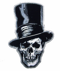 15 INCH TALL! SKULL HEAD STOVE PIPE HAT 15 IN  EMBROIDERED PATCH  (sold by the piece )