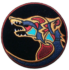 NATIVE WOLF SYMBOL EMBROIDERIED PATCH (sold by the piece )