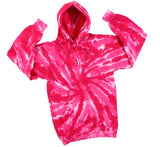 HOT PINK TORNADO SWIRL TIE DYED HOODIE (sold by the piece ) **- CLOSEOUT NOW $ 12.50 EA
