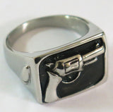 HAND PISTOL GUN STAINLESS STEEL BIKER RING ( sold by the piece )