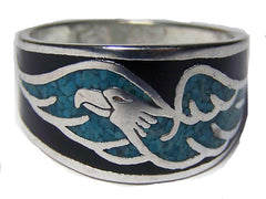 FLYING EAGLE TURQUOISE BAND DELUXE BIKER RING  (Sold by the piece)