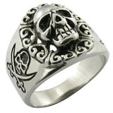 SKULL PIRATE STAINLESS STEEL BIKER RING ( sold by the piece )