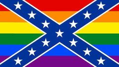REBEL CONFEDERATE / RAINBOW  3 X 5 FLAG ( sold by the piece )