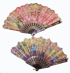 LACE CLOTH RAINBOW GLITTER HAND FANS ( sold by the dozen )