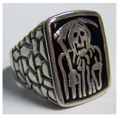 BLACK IMPRESSED GRIM REAPER BIKER RING  (Sold by the piece)