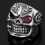 SKULL RED EYE W CIGAR STAINLESS STEEL BIKER RING ( sold by the piece )