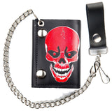 LARGE RED SKULL TRIFOLD LEATHER WALLETS WITH CHAIN (Sold by the piece)