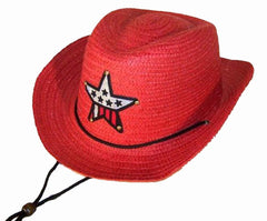 RED COLOR STRAW KIDS COWBOY HAT WITH USA STAR (Sold by the piece or dozen) *- CLOSEOUT NOW $ 1.50 EA