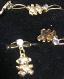 ADJUSTABLE CRYSTAL DANGLE TEDDY BEAR RINGS ( sold by the dozen ) * CLOSEOUT NOW 25 CENTS EA