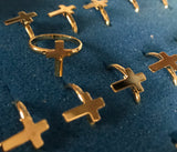 ADJUSTABLE GOLD CROSS RINGS ( sold by the dozen ) * CLOSEOUT NOW 25 CENTS EA