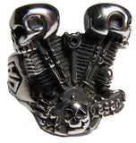 ENGINE PISTOL SKULL HEADS STAINLESS STEEL BIKER RING ( sold by the piece )