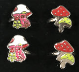 ADJUSTABLE ASSTORTED MUSHROOM RINGS ( sold by the dozen ) * CLOSEOUT NOW 25 CENTS EA