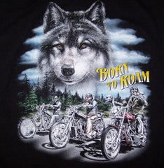 BORN TO ROAM BLACK SHORT SLEEVE TEE-SHIRT (Sold by the piece)