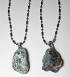 APATITE ROUGH NATURAL MINERAL STONE STAINLESS STEEL BALL CHAIN NECKLACE (sold by the piece or dozen )