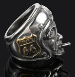 ROUTE 66 BIKERS HEAD WITH HELMET STAINLESS STEEL BIKER RING ( sold by the piece )