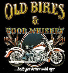 OLD BIKES & GOOD WHISKEY BLACK SHORT SLEEVE TEE-SHIRT (Sold by the piece)