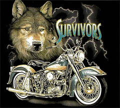 SURVIVORS WOLF BIKE BLACK SHORT SLEEVE TEE-SHIRT (Sold by the piece) *- CLOSEOUT AS LOW AS $2.95 EA