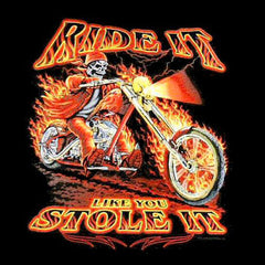 RIDE IT SSTOLE IT SKELETON ON MOTORCYCLE BIKER SLEEVE TEE SHIRT  (Sold by the piece)  *- CLOSEOUT AS LOW AS $ 2.95 EA