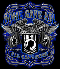 SOME GAVE ALL POW MIA EAGLE WINGS BLACK TEE-SHIRT (Sold by the piece) * CLOSEOUT $ 2.95 EA