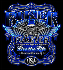 BIKER FOREVER BLACK SHORT SLEEVE TEE-SHIRT (Sold by the piece) CLOSEOUT $3.50 MEDIUM ONLY