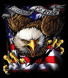 FREEDOM TO RIDE EAGLE THUR FLAG BLACK SHORT SLEEVE TEE-SHIRT (Sold by the piece)