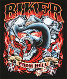 BIKER FROM HELL SKULL  BLACK SHORT SLEEVE TEE-SHIRT (Sold by the piece) *- CLOSEOUT AS LOW AS $ 2.50 EA